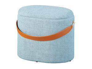 Design Sitzhocker inkl. Stauraum Hocker Textil grau mit Griff PU