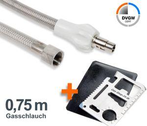 0,75 m Allgas Edelstahlschlauch (geeignet für Flüssig- / Erdgas) - f. Gasherd, Gaskocher, Gaskochmulde Kocher 75 cm Gas Steckschlauch Gassteckdose) mit Multifunktionswerkzeug MW1