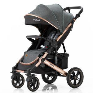 Daliya® Rapidy Buggy / Kinderwagen 0-36 Monate / Sportwagen mit Liegeposition / Wickeltasche, Winterfußsack, Ess- & Spieltisch und mehr Dunkel Grau  Gold