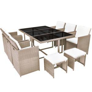 Huicheng 11-tlg. Polyrattan Sitzgruppe Garten-Essgruppe mit 6x Stühle, 1x Tisch, 4x Hocker & Kissen Gartenmöbel Sets Beige