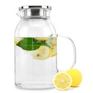 Karaffe mit Filter KLAR 1,8l Krug aus Borosilikatglas mit Henkel und Deckel hitzebeständig