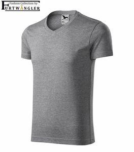 T-Shirt dunkelgrau M  Herrenshirt V-Ausschnitt Furtwängler Slim Fit V-Neck 180 g/m²