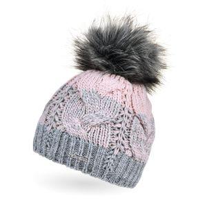 Damen Strick-Mütze gefüttert Fleece-Innenfutter Fell-Bommel Kunstfell Winter-Mütze Bommelmütze Zopfmuster mehrfarbig Neverless® grau-rosa