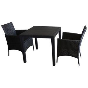 3tlg. Balkonmöbel Set Tisch 79x79cm Kunststoff + 2x Rattansessel