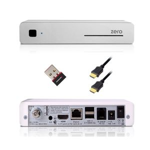VU+ ZERO WE 1x DVB-S2 Tuner SAT Full HD white 1080p Linux Satelliten Receiver + W-Lan Stick PremiumX PX150MINI Wireless N 150Mbit USB-Mini-Pen Adapter Wlan