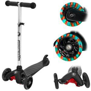 Dreirad Balance-Roller + LED-Räder, Kick-Scooter Laufrad für Kinder 3-5 Jahre in Schwarz