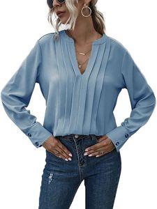 Damen V-Ausschnitt Langarm T-Shirt Office Work Shirt Casual Top,Farbe: Himmelblau,Größe:XL