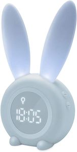 Kinder Lichtwecker Cute Rabbit LED Digitaler Wecker (Blau)