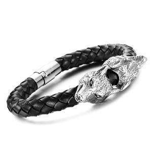 Echtleder-Armband Wolf Rindsleder geflochten schwarz Edelstahl Herren Damen Autiga®