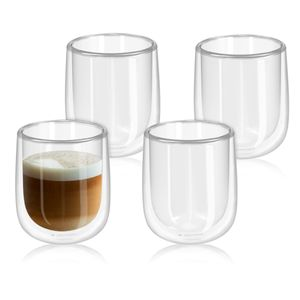 4x doppelwandige Gläser 350ml Thermogläser Kaffeegläser für Cappuccino