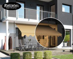 Rollolux LED Klemmmarkise Beige 350 x 120 x 230-300 cm Markise Balkonmarkise Sonnenschutz - ohne Bohren - UV-beständig
