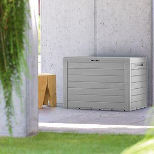 Auflagenbox Kunststoff Truhe Kissenbox Balkonbox Garten Balkon Kissentruhe Lille, Farbe:anthrazit