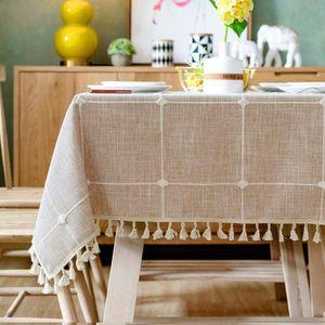 Tischdecke Rechteckige Tischdecke Baumwolle Leinen Tischdecke Geeignet für Home Küche Dekoration, Verschiedene Größen (Hellgrau, 90x90 cm)