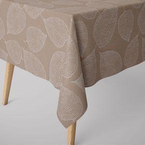 SCHÖNER LEBEN. Tischdecke Jacquard Blätter beige verschiedene Größen, Tischdecken Größe:130x200cm
