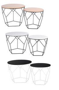 2er Set Beistelltisch Holz, Metalltisch:weiß / schwarz