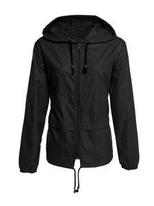 Wasserdichte Jacke für Damen Regenmantel Windjacke Windbreaker Zip Pocket Jacket,Farbe: schwarz,Größe:M