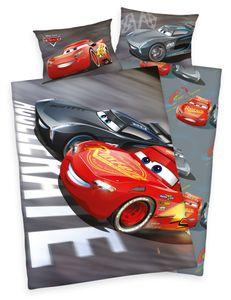 Disney´s Cars 3 Bettwäsche 40x60 + 100x135cm , 100% Baumwolle mit Reißverschluss