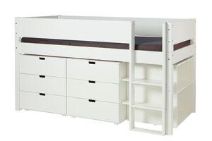 Halbhohes Bett mit Kommoden und Regalen 90x200cm Weiß