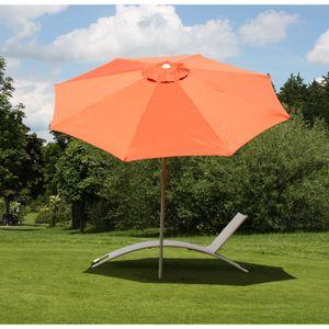 Sonnenschirm N19, Gartenschirm, Ø 3m neigbar Polyester/Alu 5kg  terracotta