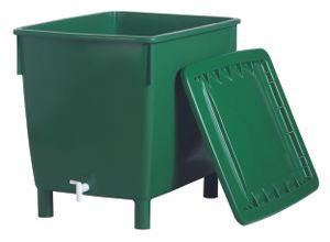 Garantia Regentonne eckig 400 L, grün schwer kpl. mit Deckel und Hahn; 501202