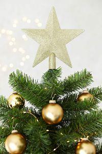 Christbaumspitze Weihnachtsstern aus Kunststoff - Weihnachtsbaumspitze Weihnachtsdeko - Gold