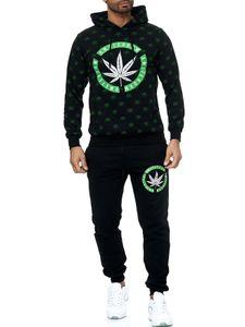 Herren Trainingsanzug Zweiteiler Weed Jogginganzug Chillen Gras Muster, Farben:Schwarz, Größe:XL