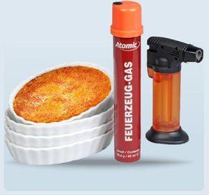 Flambiergerät Creme Brulee Set Flambierer Schalen inkl. Feuerzeug-Gas