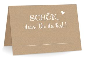 KuschelICH 100 Tischkarten Schön dass Du da bist (kraftpapier) - Namenskarten / Platzkarten zum Beschriften