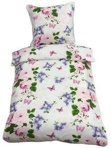 Bettwäsche 155x220 + 80x80 cm weiß violett Blumen Schmetterlinge mit Reißverschluss, 2-tlg