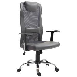 Vinsetto Bürostuhl Drehstuhl höhenverstellbar Chefsessel Schreibtischstuhl ergonomisch Polyurethangrau 51 x 60,8 x (112–122) cm