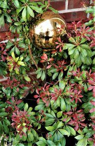 Rosenkugel 15 cm Edelstahl gold poliert mit Stab 80 cm