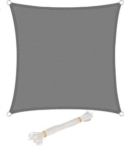 WOLTU Sonnensegel Quadrat 5x5m Grau atmungsaktiv Sonnenschutz HDPE Windschutz mit UV Schutz für Garten Terrasse Camping
