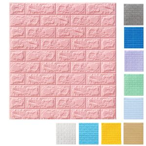 [8 mm Dick] 3D Hellrosa Ziegel Tapete, Wandtattoos Stereo Wasserfest Selbstklebend Wandaufkleber für Schlafzimmer Wohnzimmer moderne Hintergrund TV-Decor
