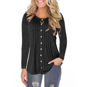 Langarm-Top-T-Shirt mit Rundhalsausschnitt für Damen,Farbe: schwarz,Größe:M