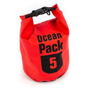 Ocean Pack 5L, wasserdichte Badetasche, Badesack, Packsack, Segeln, SkiFarbe: rot