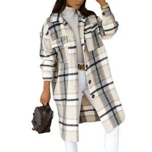 Damen karierter Mantel geknöpftes Revers Winter warmer mittellanger Mantel,Farbe: Weiß,Größe:XXL