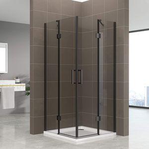 Duschbär Duschkabine 75x95x180 cm Celine mit Eckeinstieg aus durchsichtigem ESG Sicherheitsglas mit schwarzen Aluprofilen DGK73