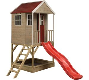 Wendi Toys Kinderspielhaus Frosch 1,97x2,9 m natur Spielturm inkl. Veranda und Rutsche