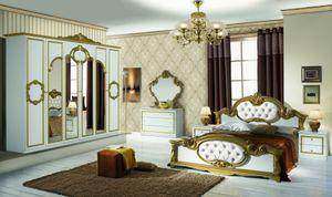Schlafzimmer Set Barokko in Weiss/Gold 4-Teilig 6-Türig - Ohne Kommode + Spiegel - 160 x 200 cm