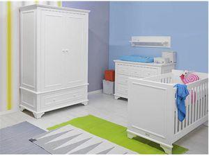 4tlg. Babyzimmer mit Babybett Weiß 60x120cm, Schrank, Kommode, Bopita Charlotte