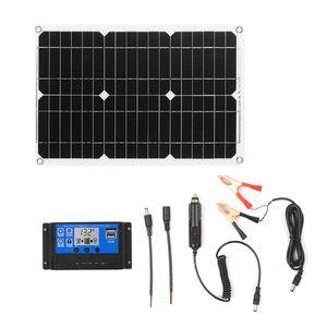 18W 12V Solarpanel Kit Monokristallines Off-Grid-Modul mit SAE-Verbindungskabel-Kits fuer Solarladeregler