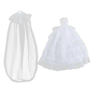 5-Schicht Spitze Brautkleid Prinzessin Brautkleid \\u0026 Schleier für 1/6 Puppe accs