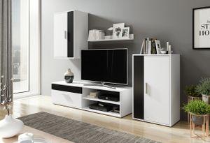 Mirjan24 Wohnwand Berno, Stilvoll Wohnzimmer-Set, Anbauwand, Schrankwand vom Hersteller (Weiß / Schwarz)