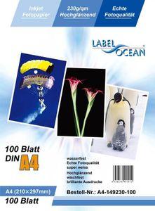 100 Blatt A4 230g/qm LabelOcean Premium Fotopapier Highglossy hochglänzend