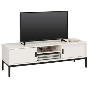 TV Lowboard SELMA mit 2 Schiebetüren, weiß