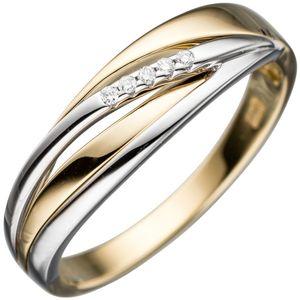 JOBO Damen Ring 585 Gold Gelbgold Weißgold bicolor 5 Diamanten Brillanten Goldring Größe 52