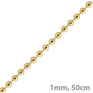 1mm Kette Goldkette Halskette Kugelkette aus 585 Gold Gelbgold 50cm Damen