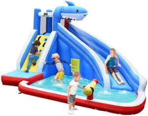 COSTWAY Hüpfburg Wasserrutsche Spielpool Aufblasbare, Wasserspielcenter mit Rutsche, Wasserpark aufblasbar, Planschbecken 390x305x240cm