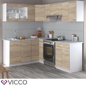 Vicco Küche Rick L-Form Küchenzeile Küchenblock Einbauküche 210 cm Sonoma
