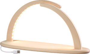 Eleganter Leuchterbogen Lichterbogen aus Holz natur Höhe 21 cm LED beleuchtet USB inklusive Netzstecker, Ausführung:natur ohne Bestückung